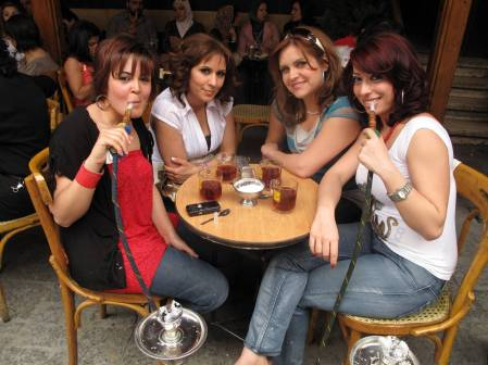 Girls At Cafe Damascus Old City